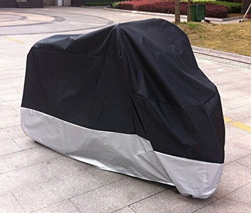 "All Season Black Waterproof Sun Motorcycle Cover (XXL) Black. Fits up to 108"" length Large cruiser, Tourer, Chopper"