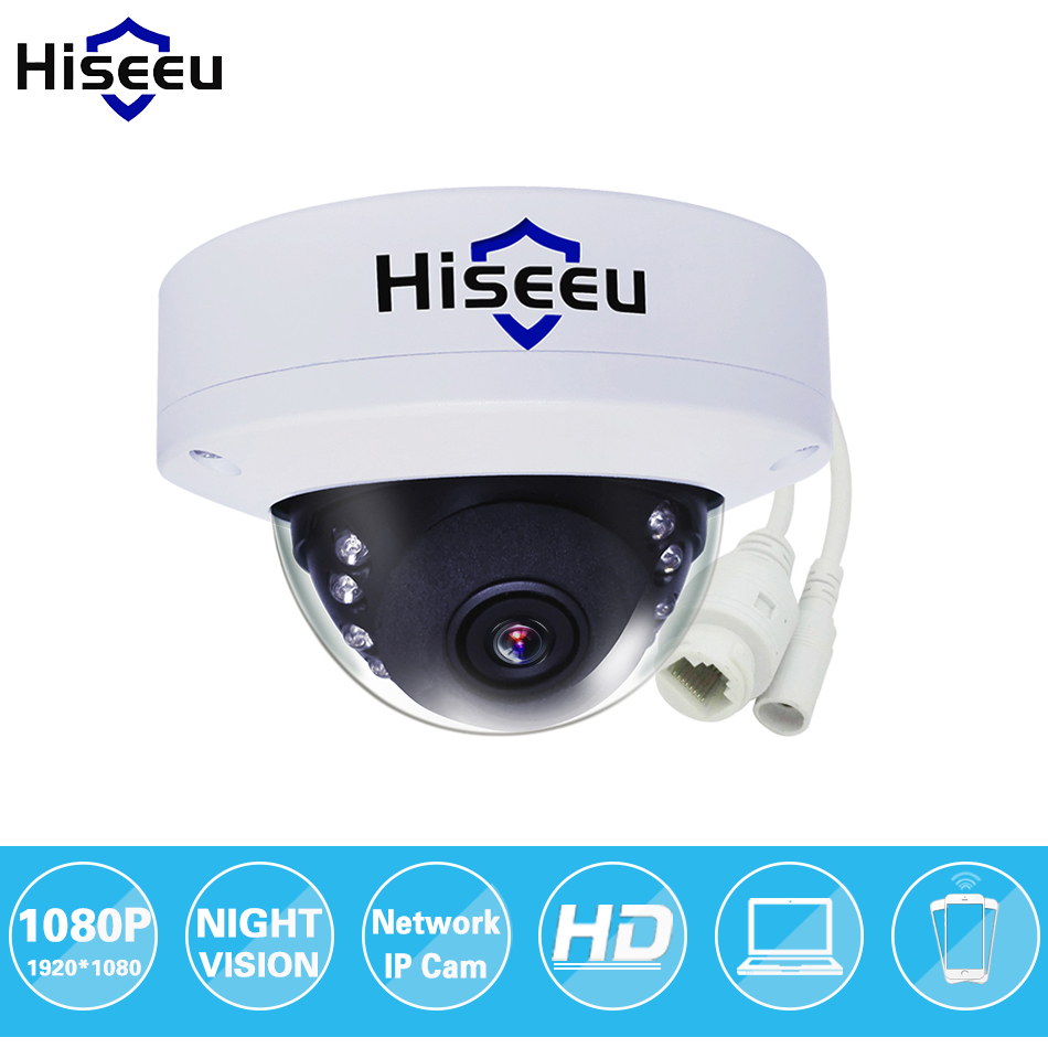 Hiseeu 1080P 2MP HD IP Network Camera Security CCTV Camera Mini Dome IR-Cut Android IOS Remote ONVIF H.264 Freeshipping HCR312 720p hd ip network 1 0megapixel 3 6mm onvif ir cut p2p security dome camera free shipping