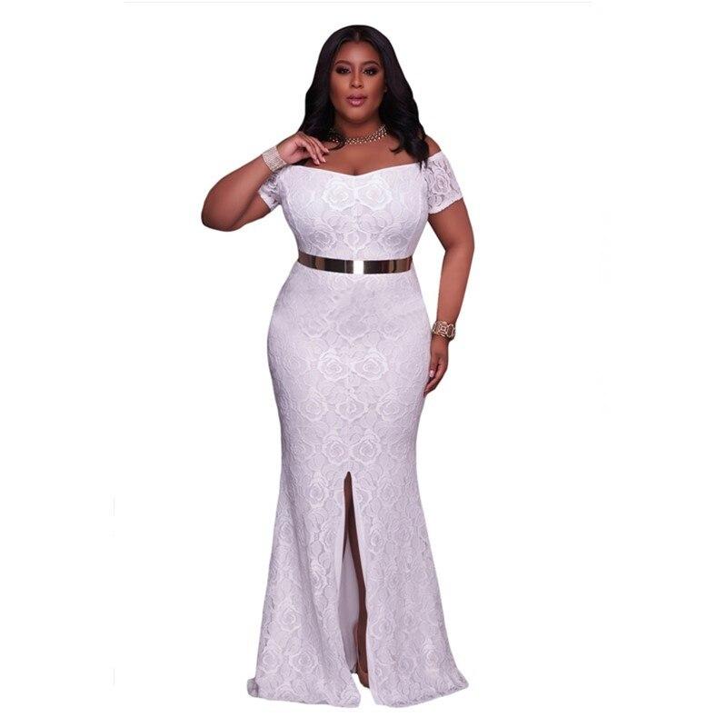 SEBOWEL Plus Size f Shoulder Lace Gown Slit Party Dresses 2017