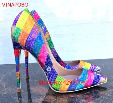 Vinapobo Women rainbow Party Wedding Pumps Shoes Super High Heel Pointed Toe Zapatos Mujer Chaussure Femme