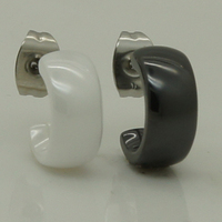 Унисекс мужские/женские классические и простой дизайн белый/черный керамический серьги Стад 1 шт.