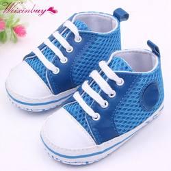 WEIXINBUY для маленьких мальчиков девушка обувь на шнуровке первые ходоки детская обувь кроссовки Infantil мягкая подошва Prewalker