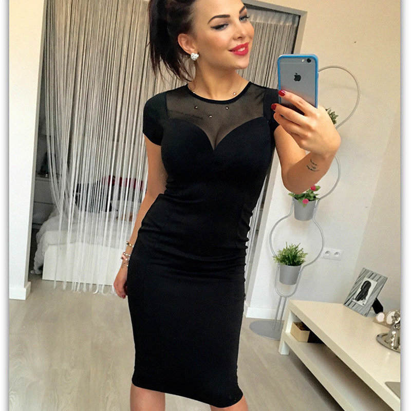 2018 Women New Fashion Casual Black Bodycon Zipper Dress Short-Sleeve O-Neck Mesh Sheer Spliced Summer Midi Pencil Dress Hot