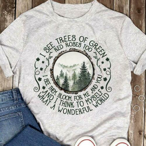 Hippie I See Trees Of Green & Rose Too Men Sport Grey Cotton T Shirt S-6XL Cool Casual Pride T Shirt Men Unisex Fashion