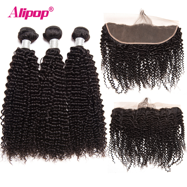 Brazilian Kinky Curly Ear to Ear Lace Frontal Closure With Bundles Human Hair 3 Bundles Alipop Closure With BabyHair NonRemy 4pc