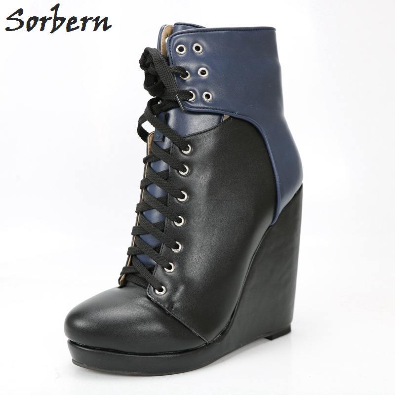 Sorbern Navy Blue Ankle Boots Women Wedge High Heels Platform Round Toe Black Shoes Platform Ankle Boots Custom Colors Lace-Up sorbern sexy red ankle boots for women open toe lace up front super high heels 2018 women ankle booties cowgirl girls shoes