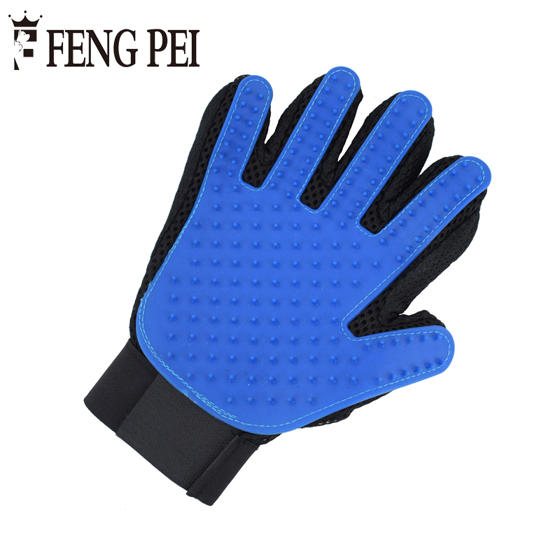 Silicone Dog Grooming Blue Glove Comb For Animal Cats Dogs Pet Hair Glove Bath Massage Hair Removal Right Hand Gloves Deshedding