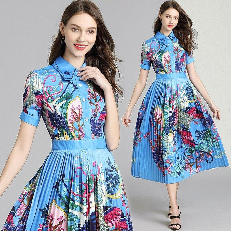 Image 2 - Banulin 2019 Runway Designer Autumn Dress Womens Short Sleeve  Casual Holiday Blue Floral Print Slim Pleated Elegant DressDresses   -