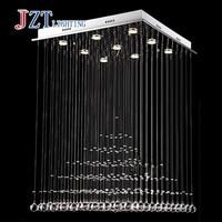T Luxury Rectangular Spiral Crystal Ceiling Light Gu10 LED Bulbs Modern Creative Indoor Lighting For Foyer