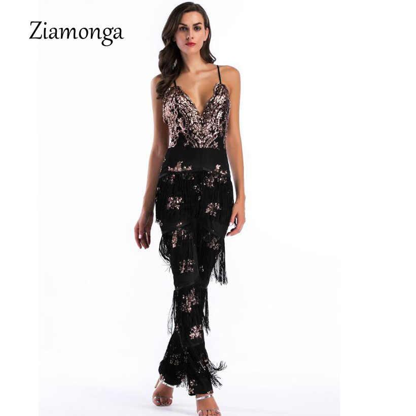Ziamonga ремень комбинезон с v-образным вырезом Мода Ночной клуб знаменит