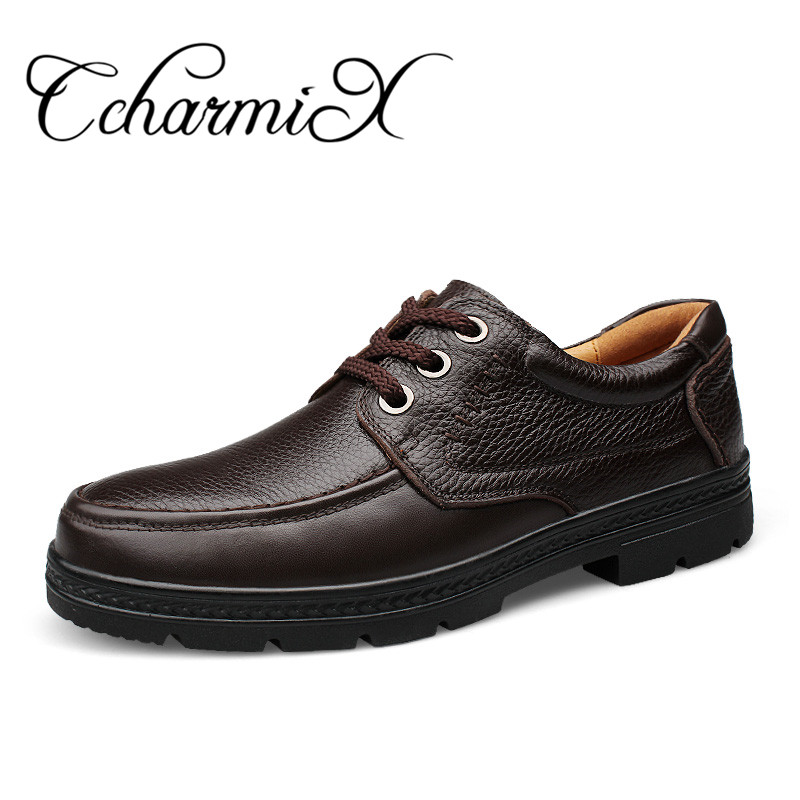 CcharmiX Genuine Leather Men's Business Shoes Lace Up Black Retro Men Dress Shoe Handmade Leather Male Formal Official Footwear 2016new handmade men dress shoes man genuine leather shoes lace up business flats shoes black