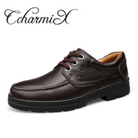 CcharmiX Genuine Leather Men S Business Shoes Lace Up Black Retro Men Dress Shoe Handmade Leather