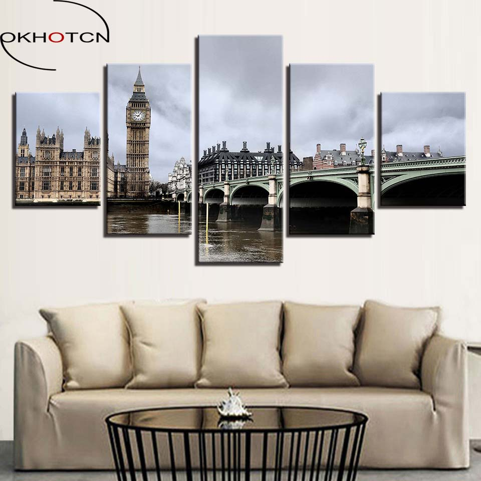 OKHOTCN Framed Canvas Paintings Home Decor Wall Art Pictures 5 ...