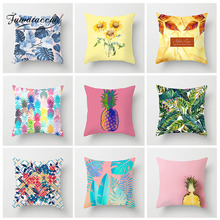 Fuwatacchi Painted Plant Cushion Cover Leaf Pineapple Flower Decoration Pillow Home Sofa Throw Polyester Pillowcases