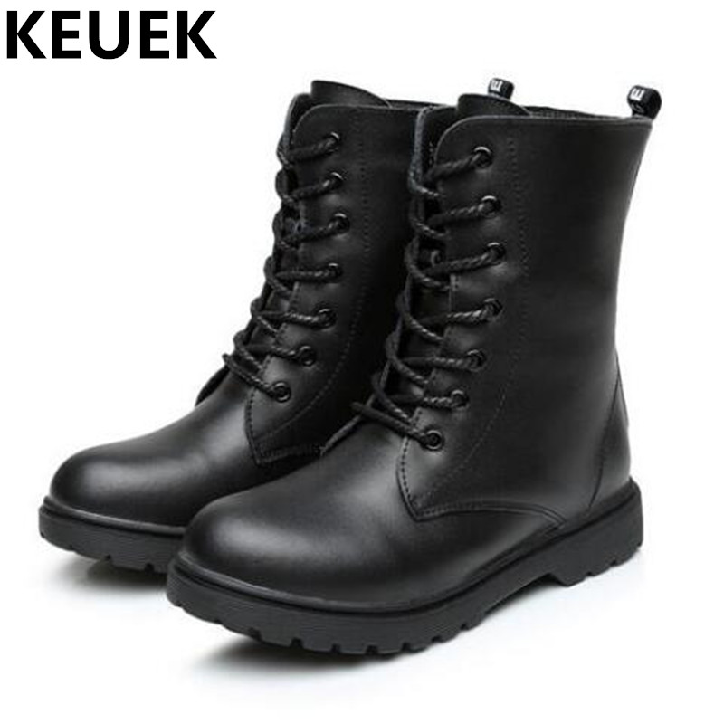 NEW Autumn/Winter Genuine Leather Boots Children Mid-Calf Martin Boots Boys Girls Snow Boots Motorcycle Kids Shoes Leather 044 new 2015 botas infantil pu leather boys girls rubber boots for children martin boots kids snow boots sneakers hot item