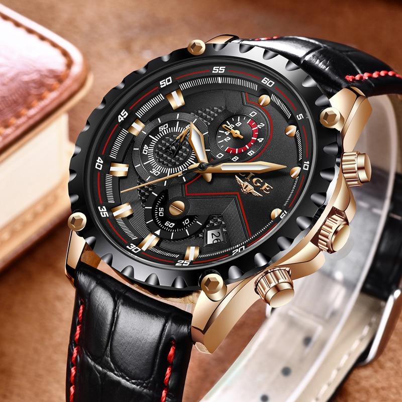 a838989d6f6 LIGE Homens Relógio de Moda Relógio de Quartzo Militar Do Exército Mens  Relógios Top Marca de Luxo Relógio Do Esporte de Couro À Prova D  Água  Relogio ...