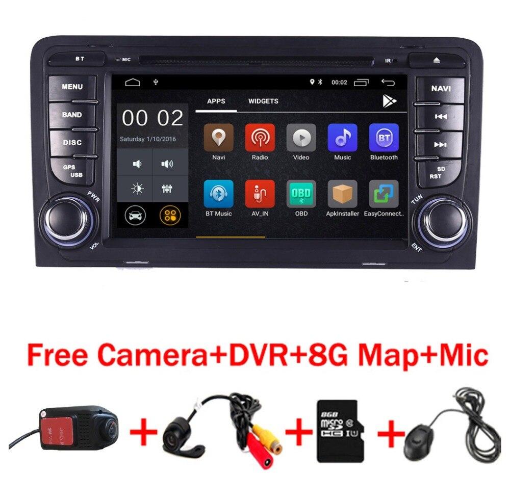 Android 8.1 Lecteur DVD de Voiture pour Audi A3 S3 GPS Navigation GPS Radio WiFi 4/3g OBD Bluetooth miroir lien Commande Au Volant