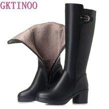82eb76a46 GKTINOO Grossas de Salto Alto Mulheres Sapatos de Inverno Genuíno Couro  Joelho Botas Altas Das Mulheres Botas de Inverno Com Pel.