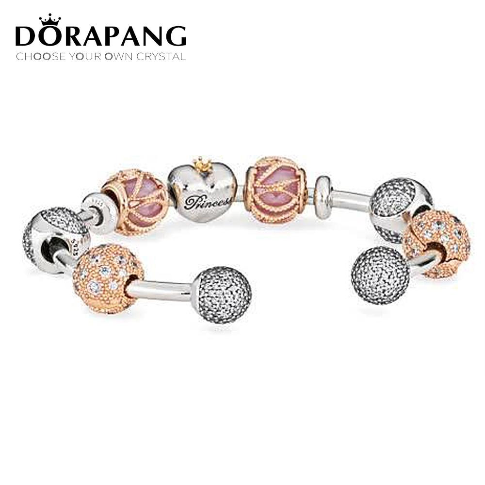 Здесь продается  DORAPANG 925 Sterling Silver Double-headed classic crystal bracelet Clear CZ Charm Bead fit DIY Bracelets Set factory wholesale  Ювелирные изделия и часы
