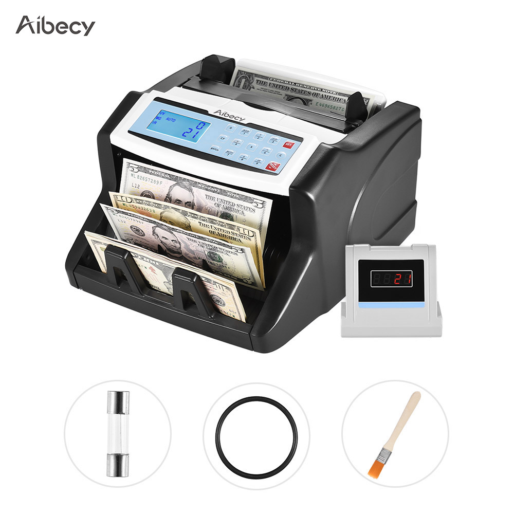 Aibecy Multi-currency Banknote Counter UV/MT/MG/IR/DD Counterfeit Bill Detector Automatic Money Cash for US Dollar Euro Pound ru us aibecy multi currency cash banknote money bill automatic counter counting machine lcd display for euro us dollar aud pound