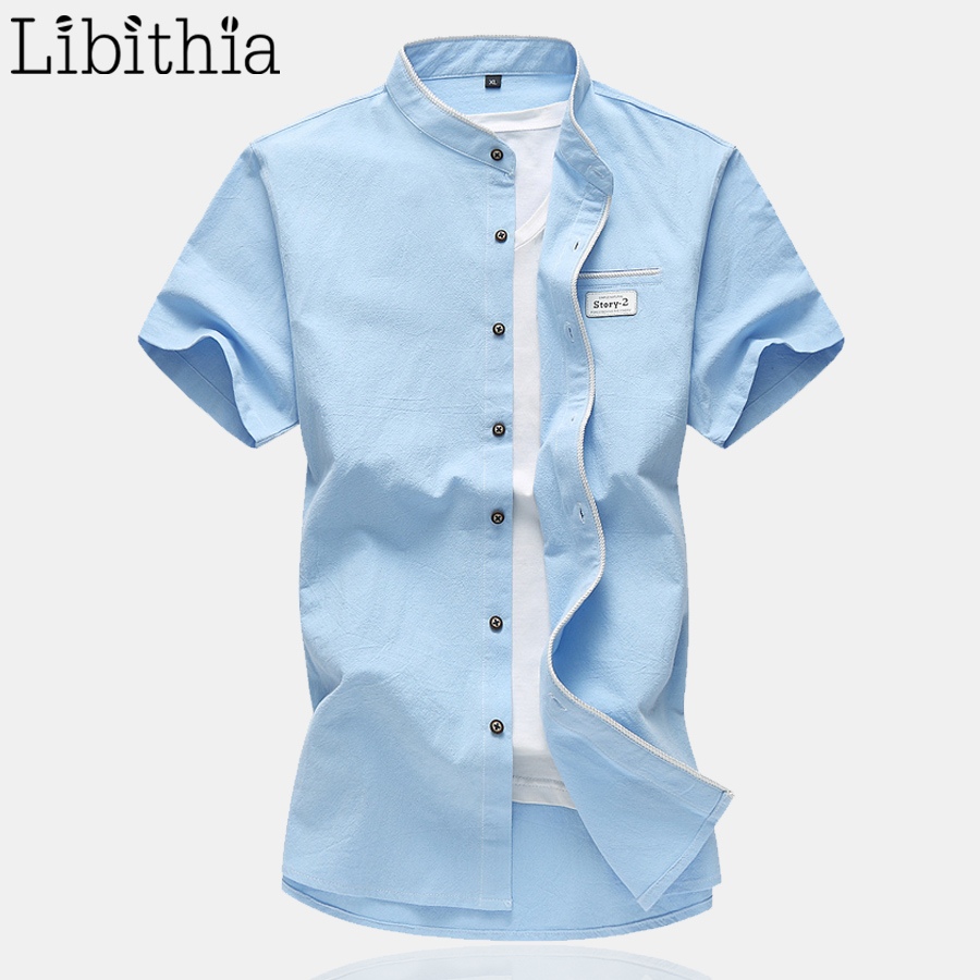 Men 100 Cotton Summer Shirts Stand Collar Standar Style Shirt Male