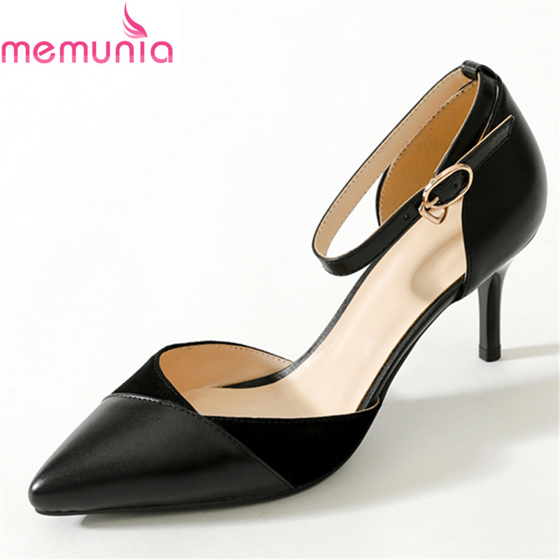 MEMUNIA 2018 new arrival sexy pointed toe buckle women pumps stiletto high heels genuine leather solid black party shoes new arrival genuine leather pointed toe high heels stiletto shallow metal buckle pumps slip on women brand wedding shoes l8f3