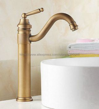 Basin Faucets Antique Brass Single Handle Single Hole Bathroom Sink Faucet Swivel Spout Hot & Cold Water Mixer Taps Bnf205