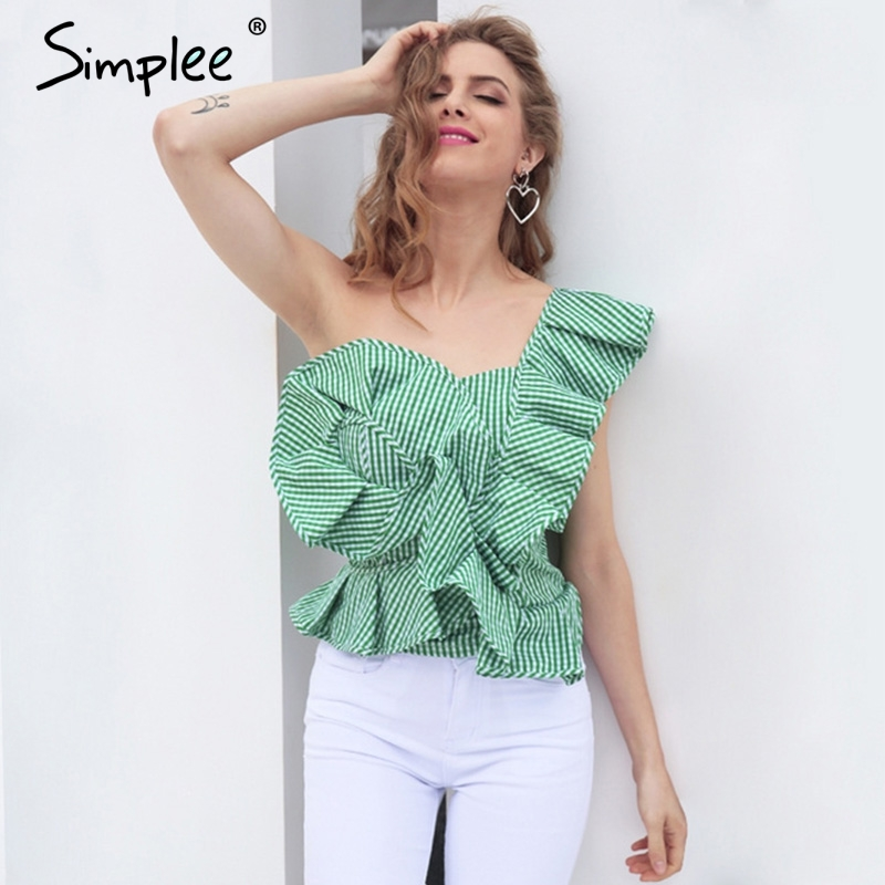 30f8fe9f6f7b Simplee One shoulder blouse shirt women tops Summer irregular striped shirt  blouse chemise femme Elegant ruffles zipper blusas-in Blouses   Shirts from  ...