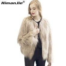 Chic soft faux fur coat women Fluffy warm long sleeve female outerwear black elegant autumn winter coat jacket hairy overcoat