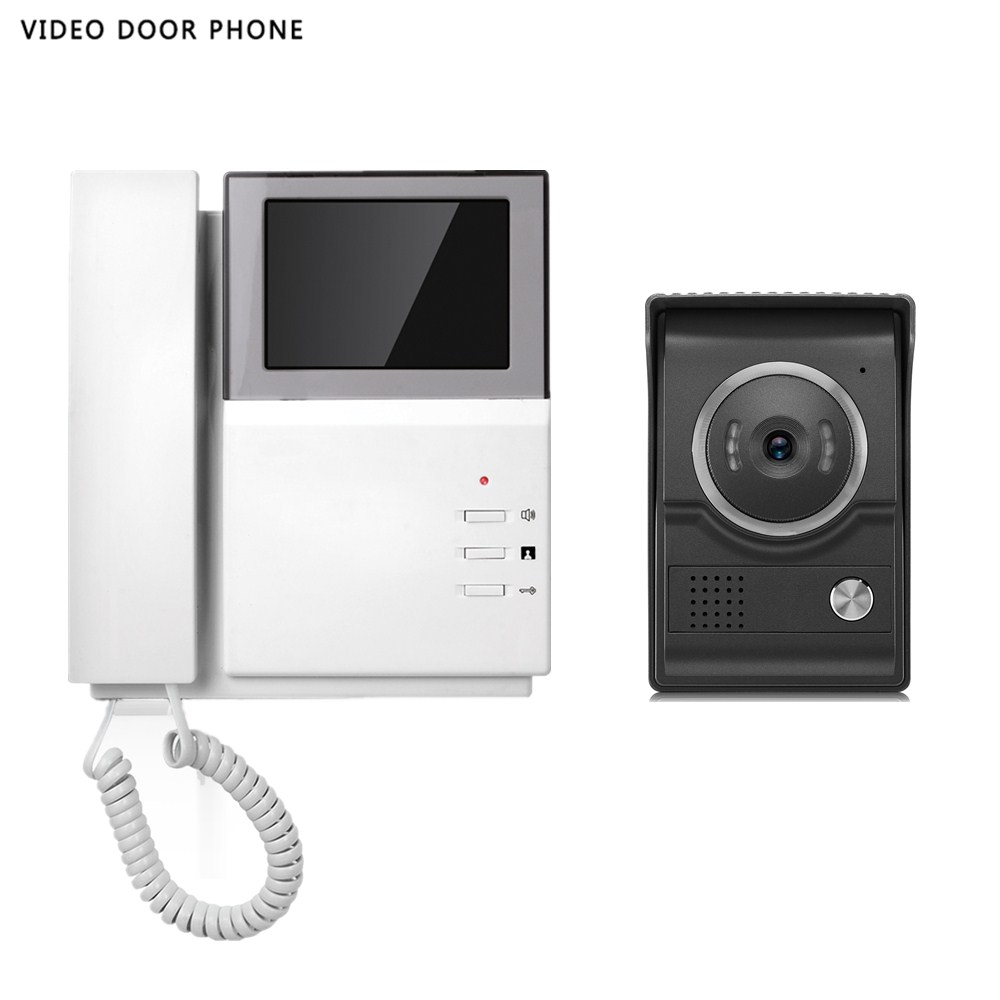 Home Security Video Intercom System 4.3''tft Lcd Handset Screen One Monitor Wire Video Doorphone For Villa Night Vision Camera