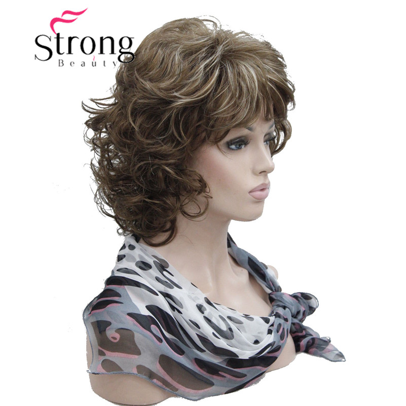 StrongBeauty Short Soft Shaggy Layered Full Synthetic Wig Brown Highlights Curly Women's Synthetic Wigs