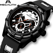 MEGALITH Sport Luminous Disply Quartz Watches Men Top Brand Luxury Waterproof Chronograph Date Wrist Watches Male Reloj Hombre(China)