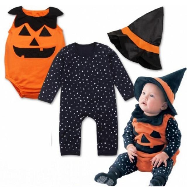 e52250b4500 3pcs Newborn Baby Boys Girls romper wizard hats sets Halloween Outfit Set Infant  cotton pumpkin pattern bodysuit kid clothes