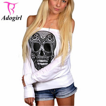 Skull Printed Long Sleeved Women Slash T shirts 2016 Holloween Clothing Loose Girls Casual Tee For Holloween Vestidos Mujers