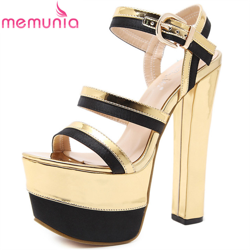MEMUNIA new arrival super heels shoes in summer women shoes sandals sexy party  PU solid buckle platform shoes fashion memunia  new arrival simple pu leather