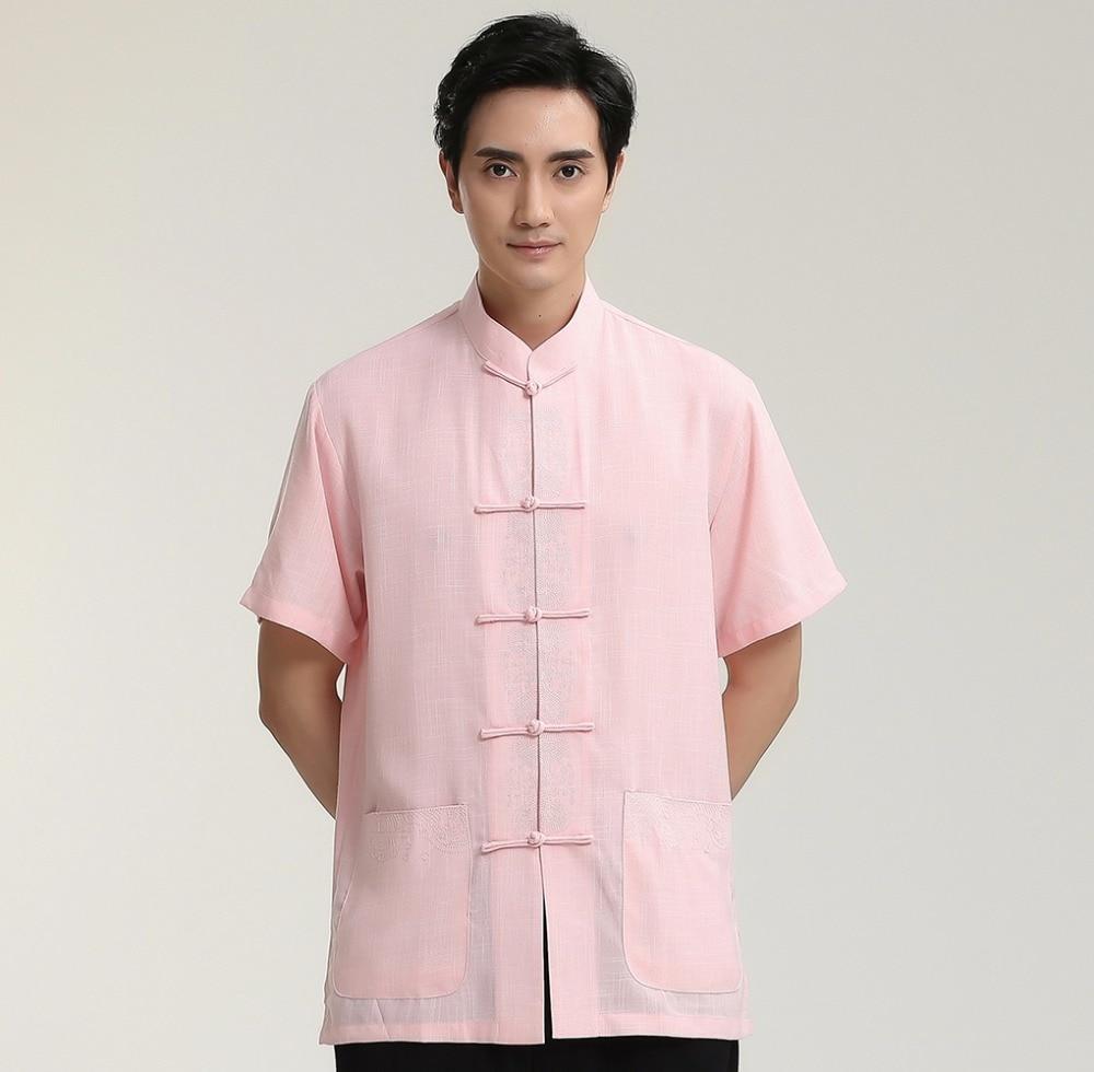 Pink Male Cotton Linen Short Sleeve Shirt Chinese Men Classic Kung Fu Tai Chi Clothing Tang Suit Tops M L XL XXL XXXL 2713