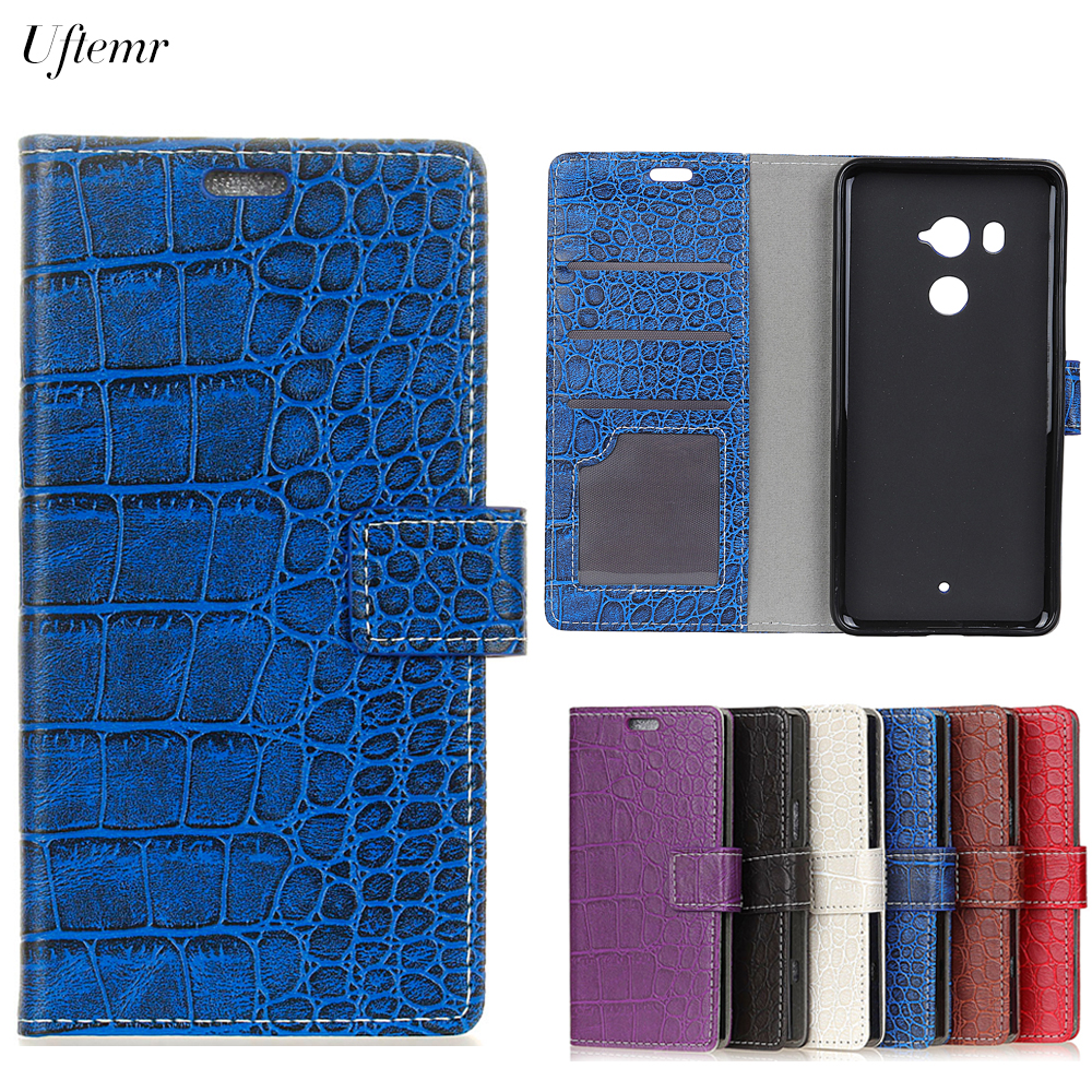 Uftemr Vintage Crocodile PU Leather Cover For HTC U11 Plus Protective Silicone Case For HTC U11 Plus Wallet Card Slot Acessories