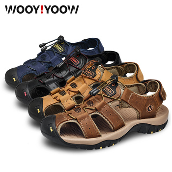 WOOY!YOOW Five Colors Men Sandals Genuine Leather Shoes Sandals Large Size New Men's Casual Breathable Soft Summer Beach Shoes