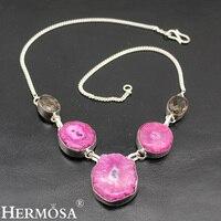 Trendy Natural Solar Quartz Smokytopaz Chain Necklace 925 Sterling Silver Women Jewelry 16 Inch TF77