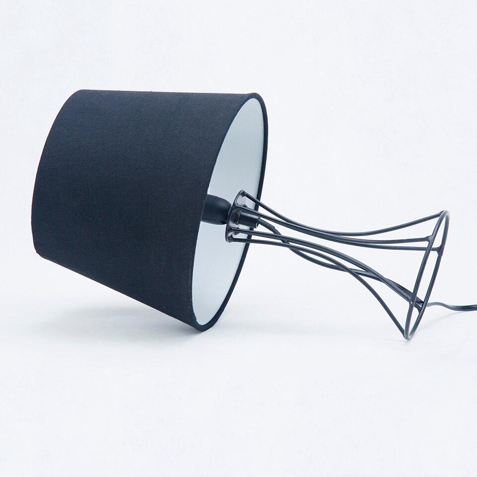 Modern Desk Lamp Black Linen Chimney Simple Tables Lamp