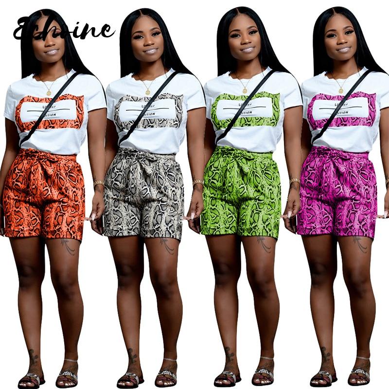 Echoine Fashion Casual Leisure Letters Print Snake Skin 2 Two Pieces Set Women Summer Short Sleeve T Shirt Shorts Traksuits XXL
