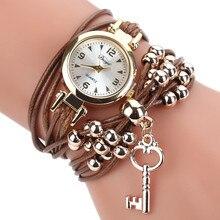 Женские часы-браслет, женские модные часы, кожаный круглый ремешок, Золотой циферблат, кварцевые наручные часы, reloj mujer