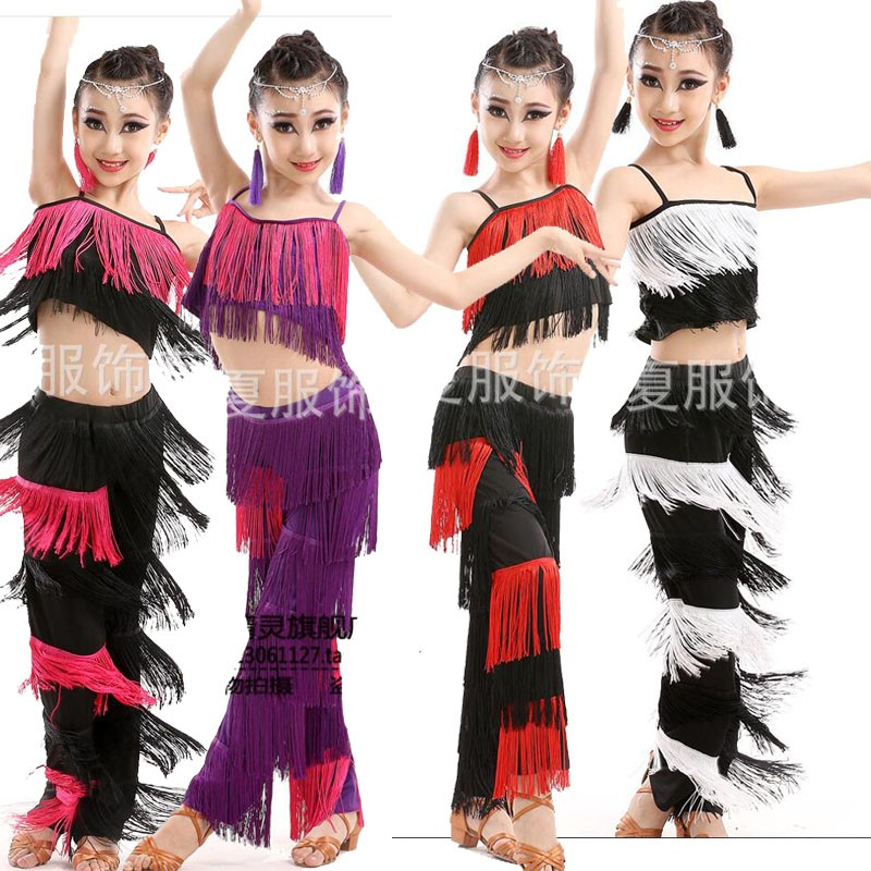 563f7b707 Kids Adult Tassels vestidos latino dress costumes tops+Pants Outfits ...