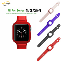 KINGBEIKE 8 Colors Silicone Watchband+ Frame For Apple Watch Series 1/2/3/4 38mm 42mm 40mm 44mm Bracelet Strap Smart Watch Band