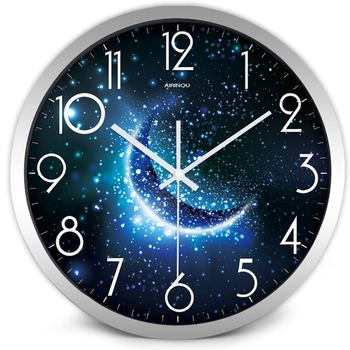 Airinou the Moon Starry Sky and Mars 3 Styles ,Glass&Metal Silent Movement Wall Clock,Children Room Museum Theme Park  Decorate 18