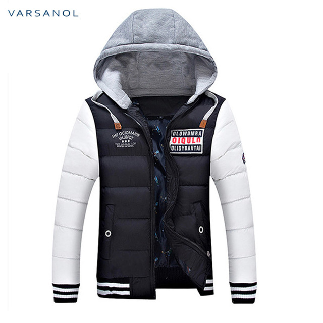 Varsanol Winter Mens Jackets Casual New Hooded Thick Padded Men's parkas Jacket Coats Warm Zipper Slim Tops Outwear 3xl 1