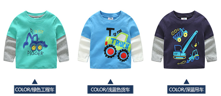 2018 Spring Autumn For 2-9 10 Years Children Cotton Striped Patchwork Cartoon Car Bus Truck Baby Kids Boys Long Sleeve T Shirts (12)