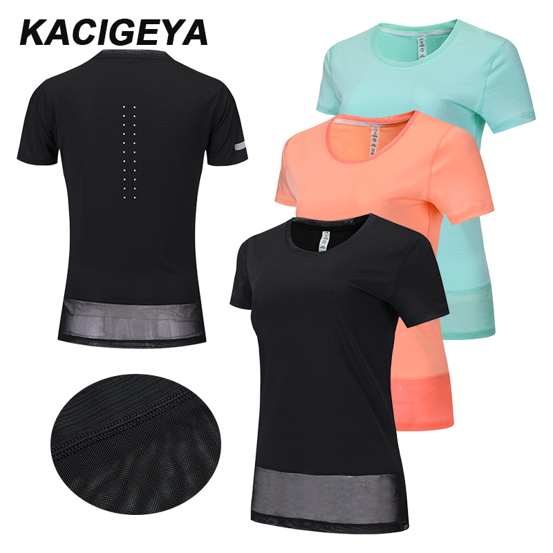 Yoga Shirt Women 2019 Fitness Training Sports Running Top Patchwork Mesh long Loose Short Sleeves New Workout Female T-shirt