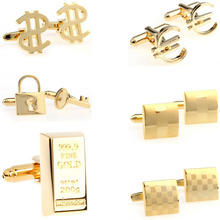 Fashion Gold Laser Dollar Cufflink Cuff Link 1 Pair Big Promotion cheap Tie Clips Cufflinks Classic Cuff Links Simulated-pearl Stone TZG103 Various Stainless Steel