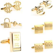 Fashion Gold Laser Dollar cufflink mankiet Link 1 para duża promocja tanie tanio Tie Clips Cufflinks Moda Klasyczny Cuff Links Simulated-pearl Stone Mężczyzn TZG103 Various Stal nierdzewna